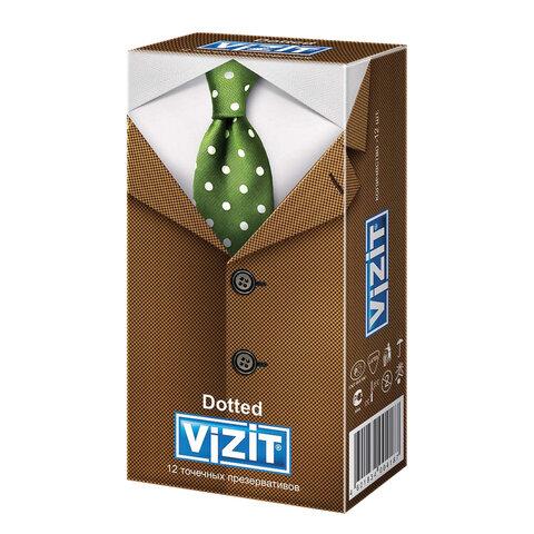 Презервативы латексные VIZIT Dotted, комплект 12 шт., с точками, 101010311