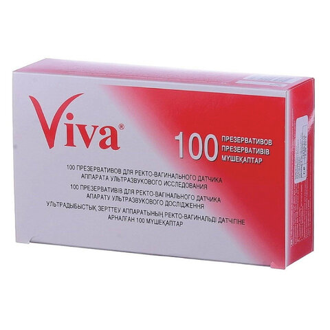 Презервативы для УЗИ VIVA, комплект 100 шт., без накопителя, гладкие, без смазки, 210х28 мм, 108020021