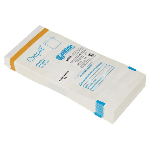 Пакет бумажный самоклеящийся ВИНАР СТЕРИТ, комплект 100 шт., для ПАРОВОЙ/ВОЗДУШНОЙ стерилизации, 100х200 ММ, 3