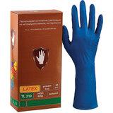 Перчатки латексные смотровые КОМПЛЕКТ 25 пар (50 шт.), повышенной прочности, удлиненные, размер L(большой), синие, SAFE&CARE High Risk TL210, ТL 210