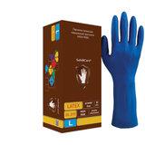 Перчатки латексные смотровые КОМПЛЕКТ 25 пар (50 шт.), L (большой), синие, SAFE&CARE High Risk, DL 215
