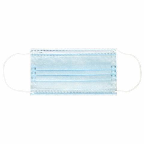 Маски одноразовые КОМПЛЕКТ 5 шт., гигиенические, 3-х слойная, ФАСТФЭШН, на резинке, голубые, М20410
