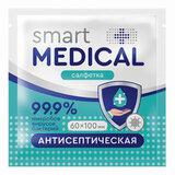 Антисептическая салфетка в индивидуальной упаковке SMART MEDICAL, 60х100 мм, 72031