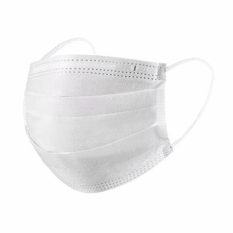 Маски одноразовые медицинские КОМПЛЕКТ 100 шт. 3-х слойные белые (фильтр СМС) ГРАНИ, полиэтилен