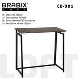 "Стол на металлокаркасе BRABIX ""LOFT CD-001"", 800х440х740 мм, складной, цвет морёный дуб, 641209"