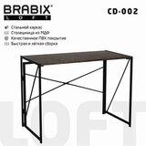 "Стол на металлокаркасе BRABIX ""LOFT CD-002"", 1000х500х750 мм, складной, цвет морёный дуб, 641212"