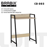 "Стол на металлокаркасе BRABIX ""LOFT CD-003"", 640х420х840 мм, цвет дуб натуральный, 641217"