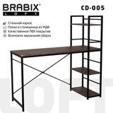 "Стол на металлокаркасе BRABIX ""LOFT CD-005"", 1200х520х1200 мм, 3 полки, цвет морёный дуб, 641221"
