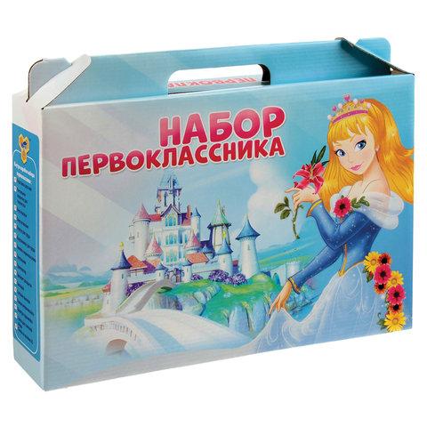 Набор школьных принадлежностей в подарочной коробке ПЧЕЛКА, для девочек, 16 предметов, НП-1-Д