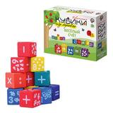 """Кубики деревянные """"Веселый счет"""", 12 шт., 4х4х4 см, белые цифры на цветных кубиках, """"Десятое королевство"""", 01585"""
