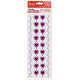 """Стразы самоклеящиеся """"Пурпурные сердца"""", 8-22 мм, 18 страз + 2 ленты, на подложке, ОСТРОВ СОКРОВИЩ, 661584"""
