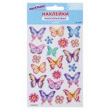 """Наклейки гелевые """"Пастельные бабочки"""", многоразовые, с блестками, 10х15 см, ЮНЛАНДИЯ, 661780"""
