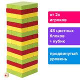 """Игра настольная """"ЦВЕТНАЯ БАШНЯ"""", 48 окрашенных деревянных блоков + кубик, ЗОЛОТАЯ СКАЗКА, 662295"""