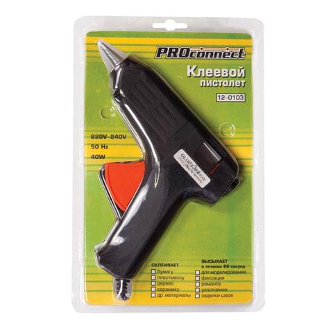 Клеевой пистолет, 40 Вт, для стержня 11 мм, PROCONNECT, в блистере, 12-0103