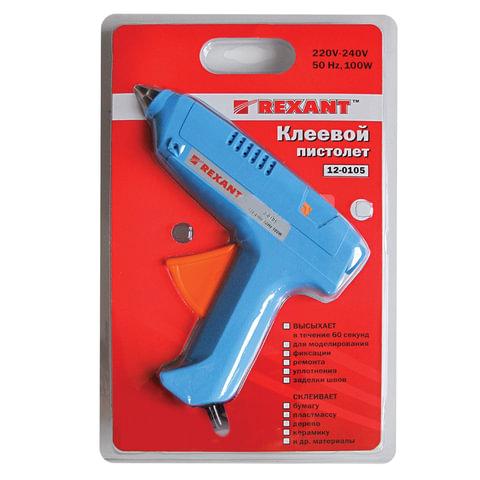 Клеевой пистолет 100 Вт для стержня 11 мм, REXANT, в блистере, 12-0105