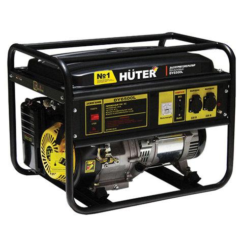 Электрогенератор Huter DY6500L, бензиновый, мощность 5,5 кВт, напряжение 220 В, ручной стартер, 64/1/6