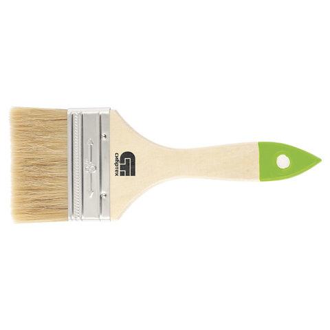 Кисть плоская 75 мм, натуральная щетина, деревянная ручка, для масляных красок, лаков, СИБРТЕХ, 82265