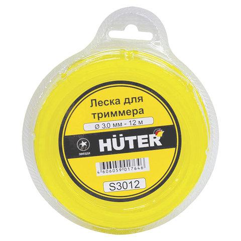 Леска для триммера, 3,0 мм х 12 м, сечение - звезда, блистер, HUTER S3012, 71/2/2