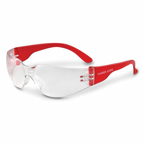 Очки защитные открытые РОСОМЗ О15 Hammer Active super, прозрачные, устойчивы к химическим веществам, незапотевающее покрытие, поликарбонат, 11530